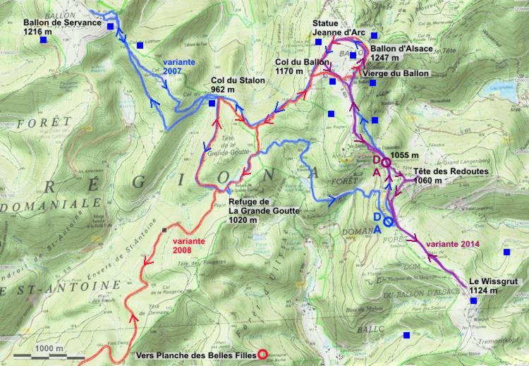 Carte Randonnee Alsace.Le Ballon D Alsace